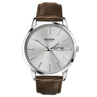 Sekonda Men's Brown Leather Strap Watch - Product number 1141554