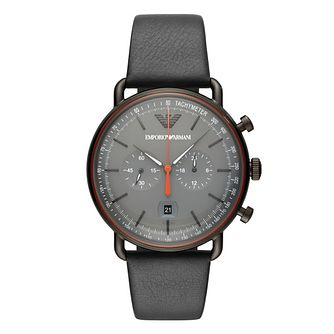 Emporio Armani Men's Grey Leather Strap Watch - Product number 1142267