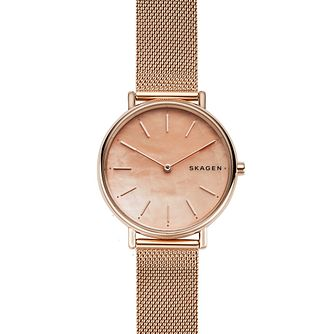 Skagen Signatur Slim Ladies' Rose Gold Tone Bracelet Watch - Product number 1142364