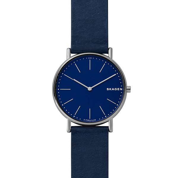 Skagen Signatur Slim Men's Blue Leather Strap Watch - Product number 1142399