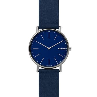 Skagen Signature Slim Men's Blue Leather Strap Watch - Product number 1142399