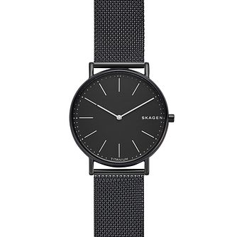 Skagen Signatur Slim Men's Black Mesh Bracelet Watch - Product number 1142410