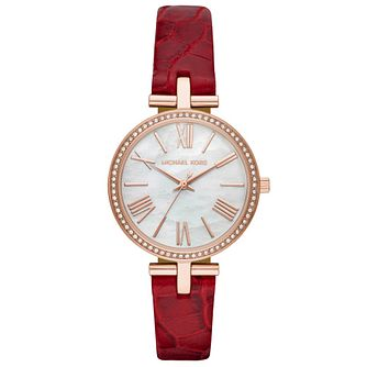 Michael Kors Maci Ladies' Red Leather Strap Watch - Product number 1142518