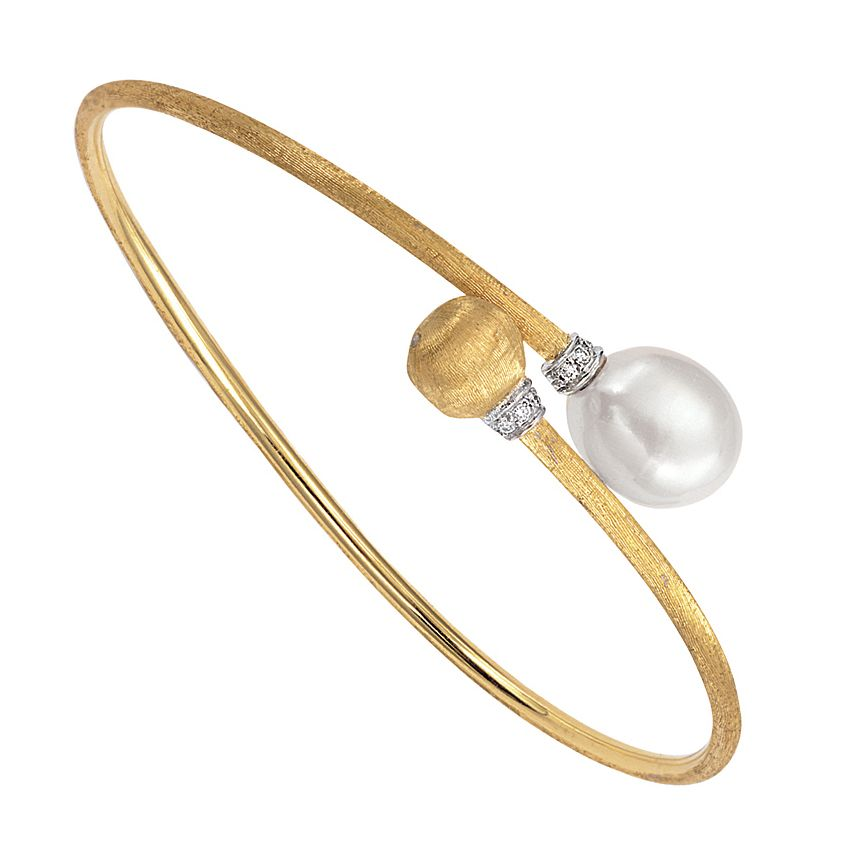 Marco Bicego Africa 18ct Yellow Gold Pearl Diamond Bangle - Product number 1142860