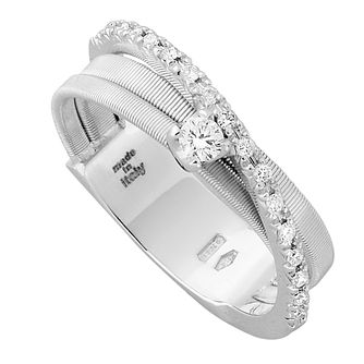 Marco Bicego Goa 18ct white gold 3 row 23 point diamond ring - Product number 1143344