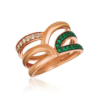 Le Vian Iconic 14ct Strawberry Gold Emerald & Diamond Ring - Product number 1146009