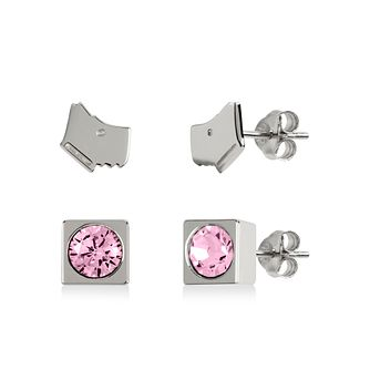 Radley Silver Tone Dog & Pink Stone Stud Earrings Gift Set - Product number 1149245