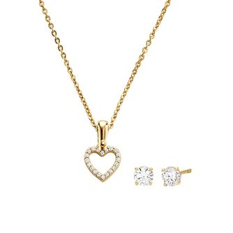 Michael Kors 14ct Gold Plated Heart Earrings & Pendant Set - Product number 1150006