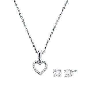 Michael Kors Silver Heart Earrings & Pendant Set - Product number 1150189