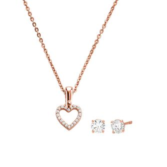 Michael Kors 14ct Rose Gold Plated Heart Earrings & Pendant - Product number 1150197