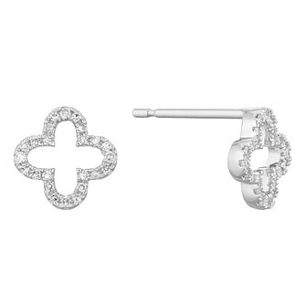 9ct White Gold Diamond Clover Stud Earrings - Product number 1150367