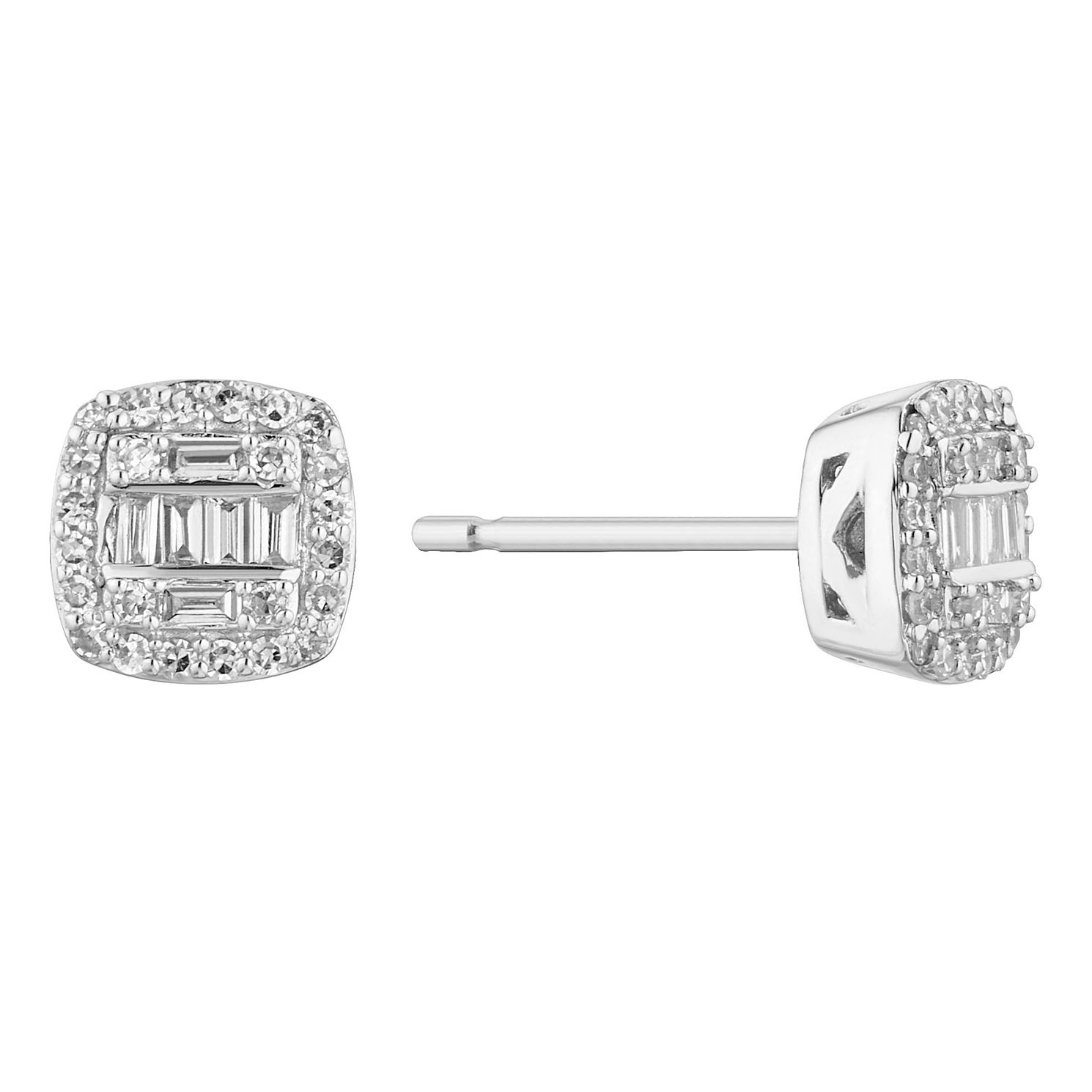 9ct White Gold 0.20ct Total Diamond Baguette Stud Earrings - Product number 1150421