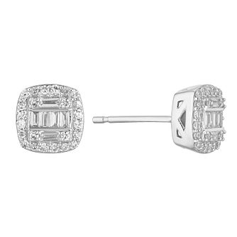 9ct White Gold 0.30ct Total Diamond Baguette Stud Earrings - Product number 1150448