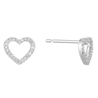 9ct White Gold Diamond Heart Stud Earrings - Product number 1150456