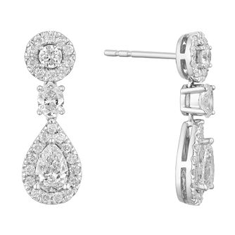 9ct White Gold 1.25ct Diamond Pear Cluster Drop Earrings - Product number 1150464