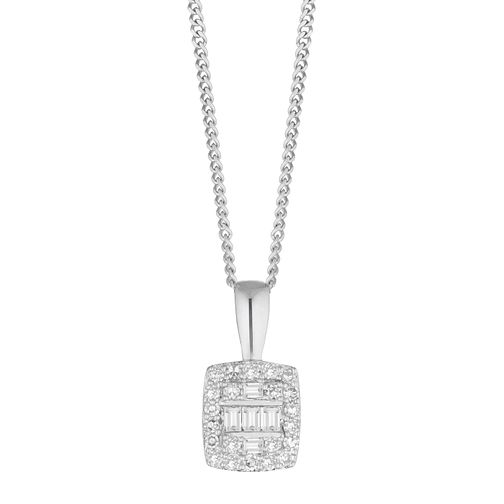 9ct White Gold 1/10ct Diamond Baguette Pendant - Product number 1150650