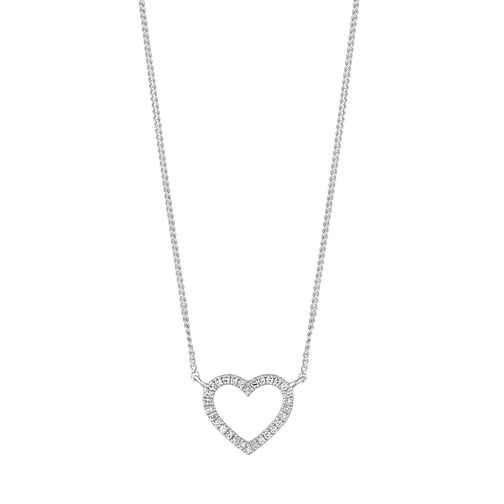 9ct White Gold Diamond Heart Necklace - Product number 1150677