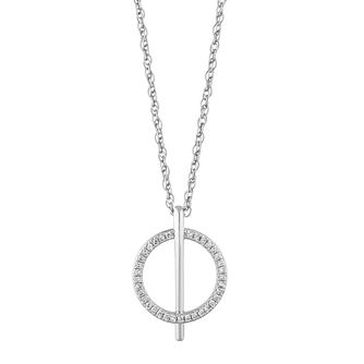 Sterling Silver 1/10ct Diamond Circle Bar Pendant - Product number 1150707