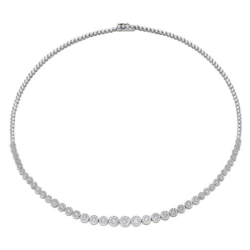 9ct White Gold 4ct Diamond Graduated Necklace - Product number 1150758