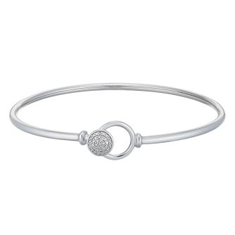 Sterling Silver 1/10ct Diamond Duo Circle Bangle - Product number 1150766