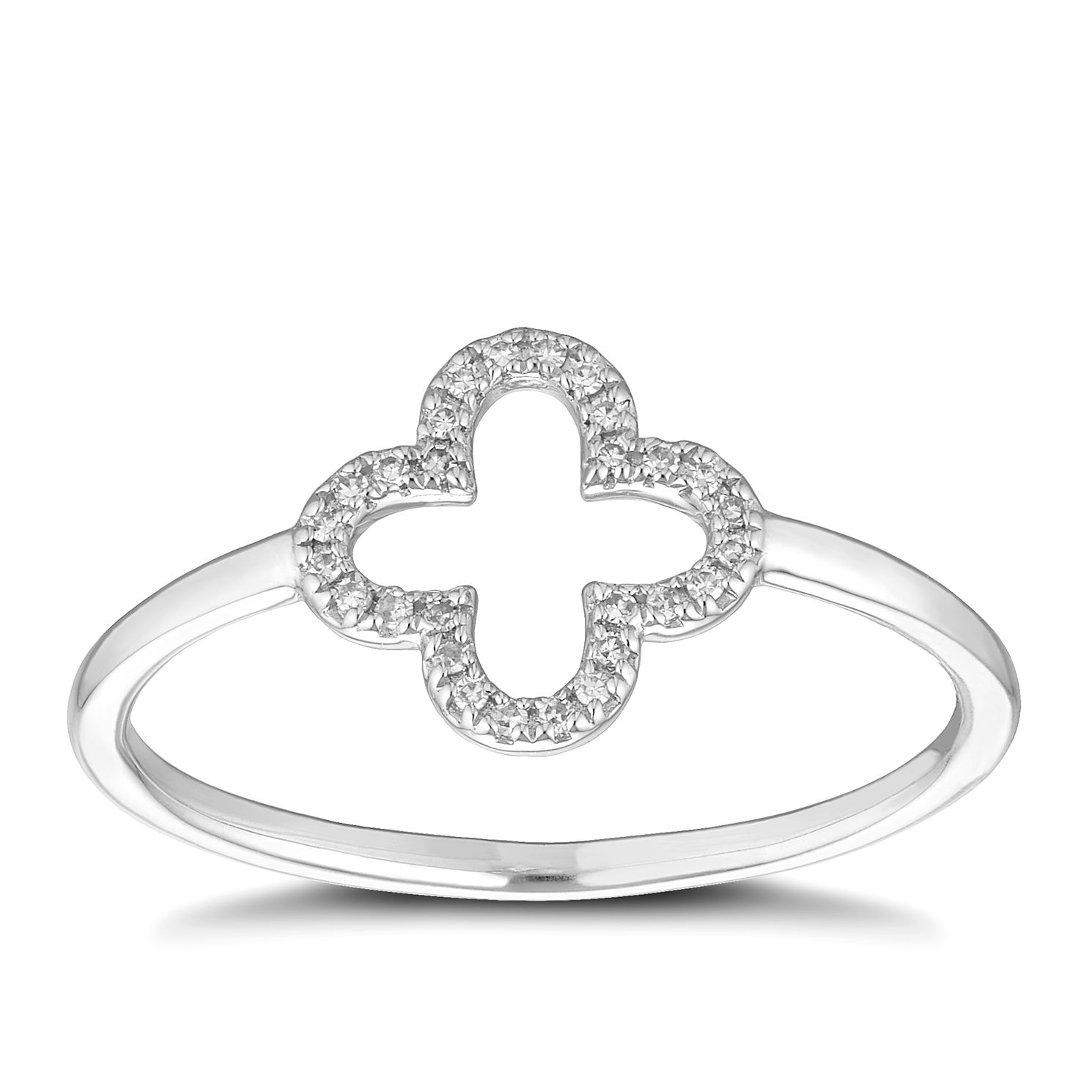 9ct White Gold Diamond Clover Ring - Product number 1150790