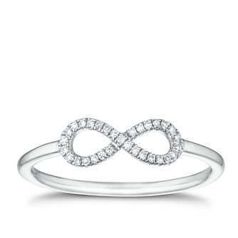9ct White Gold Diamond Infinity Sign Ring - Product number 1151126