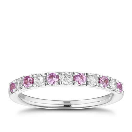 18ct White Gold 1/5ct Diamond & Pink Sapphire Ring - Product number 1153013