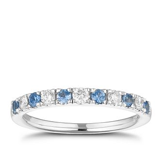18ct White Gold Sapphire & 0.20ct Diamond Ring - Product number 1153145