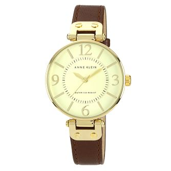 Anne Klein Ladies' Gold Tone Brown Leather Strap Watch - Product number 1153862