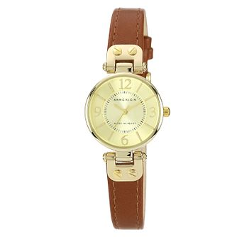 Anne Klein Ladies' Yellow Gold Tone Leather Strap Watch - Product number 1153919