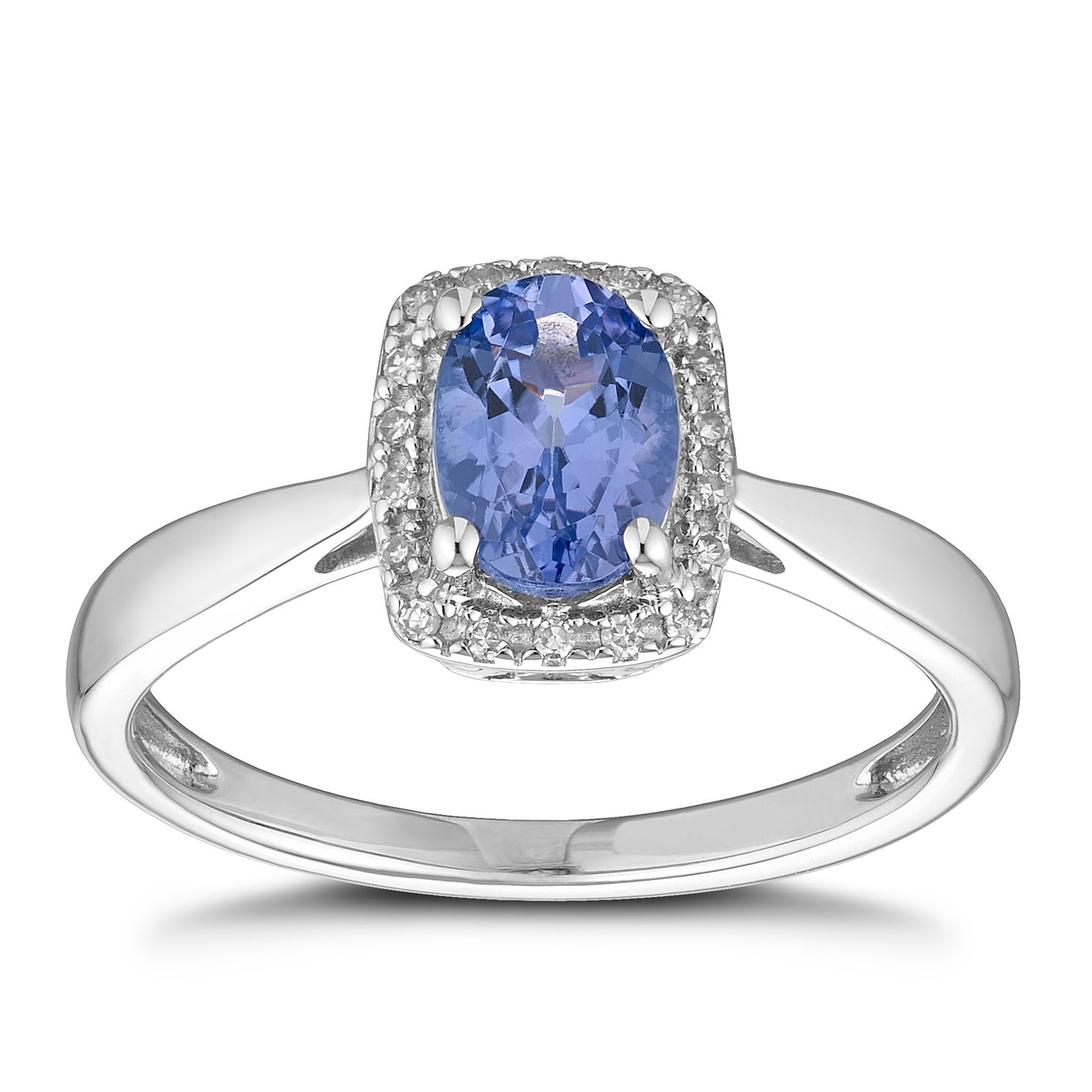9ct White Gold Tanzanite & Diamond Halo Ring - Product number 1157884