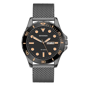 Sekonda Men's Grey IP Mesh Bracelet Watch - Product number 1157949