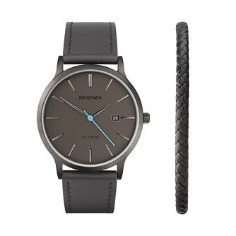 Sekonda Men's Grey Leather Watch Gift Set - Product number 1157957