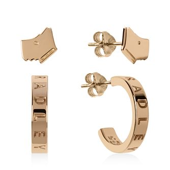 Radley Rose Gold Tone Dog Stud & Hoop Earrings Set - Product number 1158031