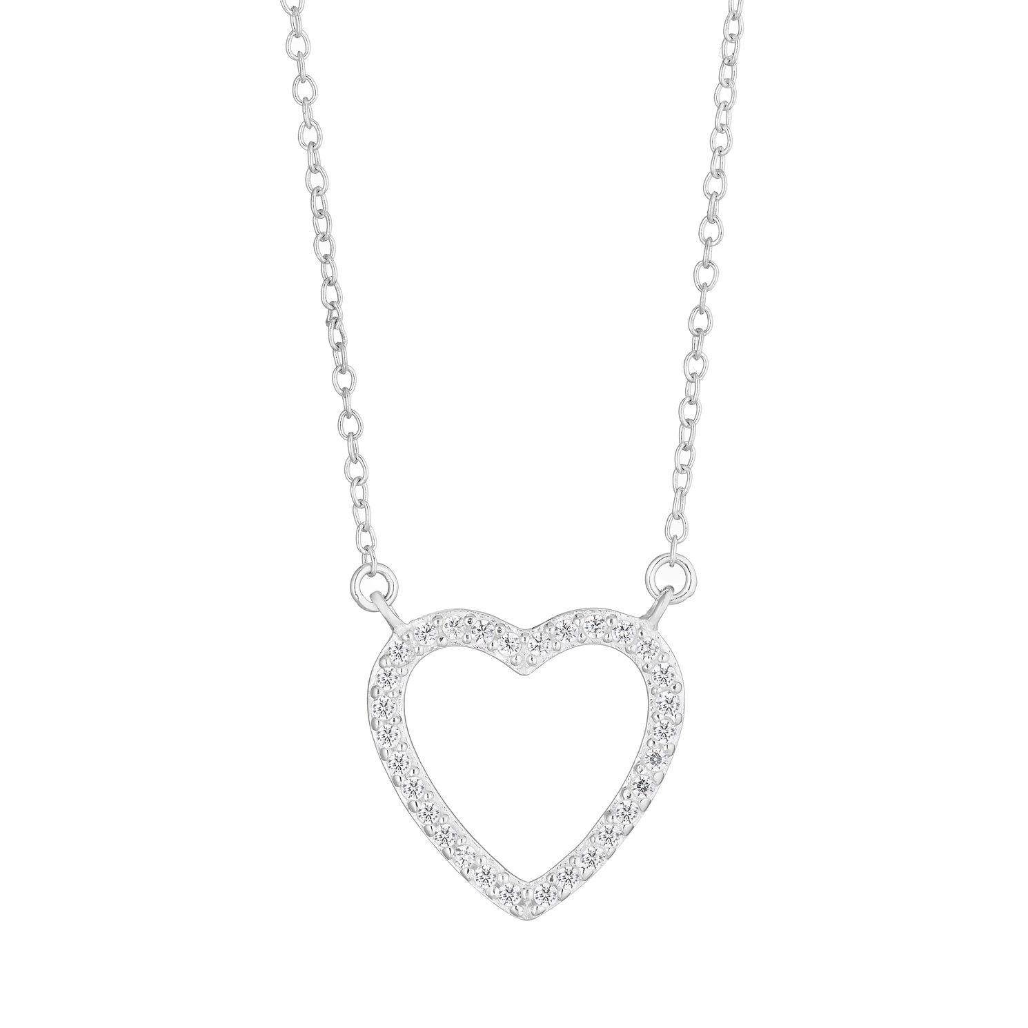 Silver Cubic Zirconia Open Heart Necklace - Product number 1158406