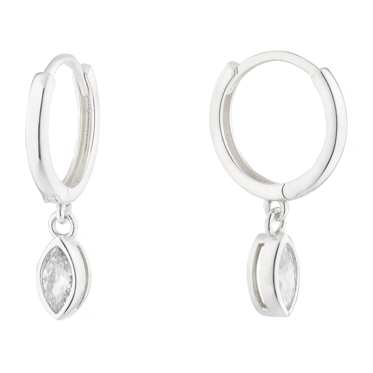 Silver Marquise Cubic Zirconia Charm Huggie Hoop Earrings - Product number 1159178