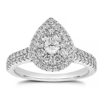Platinum 0.75ct Total Diamond Pear Cluster Ring - Product number 1159186