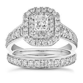 Platinum 1.5ct Diamond Radiant Double Halo Bridal Set - Product number 1159305