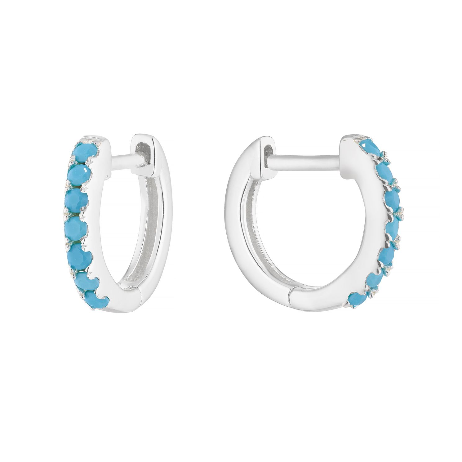 Sterling Silver Synthetitc Turquoise 9mm Huggie Earrings - Product number 1159615