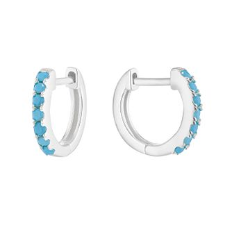 Silver Synthetitc Turquoise 9mm Huggie Hoop Earrings - Product number 1159615
