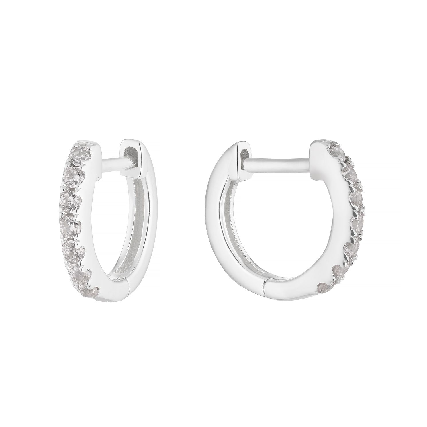 Sterling Silver Cubic Zirconia 9mm Huggie Earrings - Product number 1159623