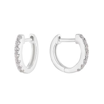 Silver White Cubic Zirconia 9mm Huggie Hoop Earrings - Product number 1159623