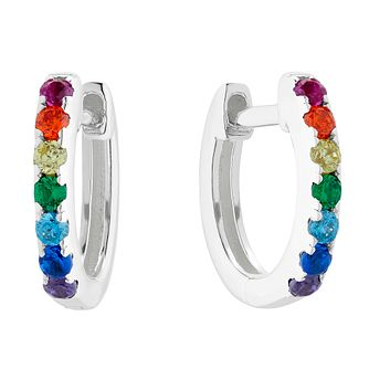 Silver Rainbow Cubic Zirconia 9mm Huggie Hoop Earrings - Product number 1159631