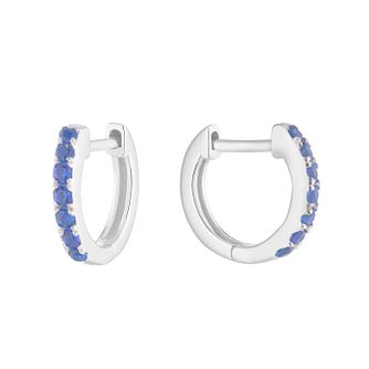 Silver Blue Cubic Zirconia 9mm Huggie Hoop Earrings - Product number 1159658