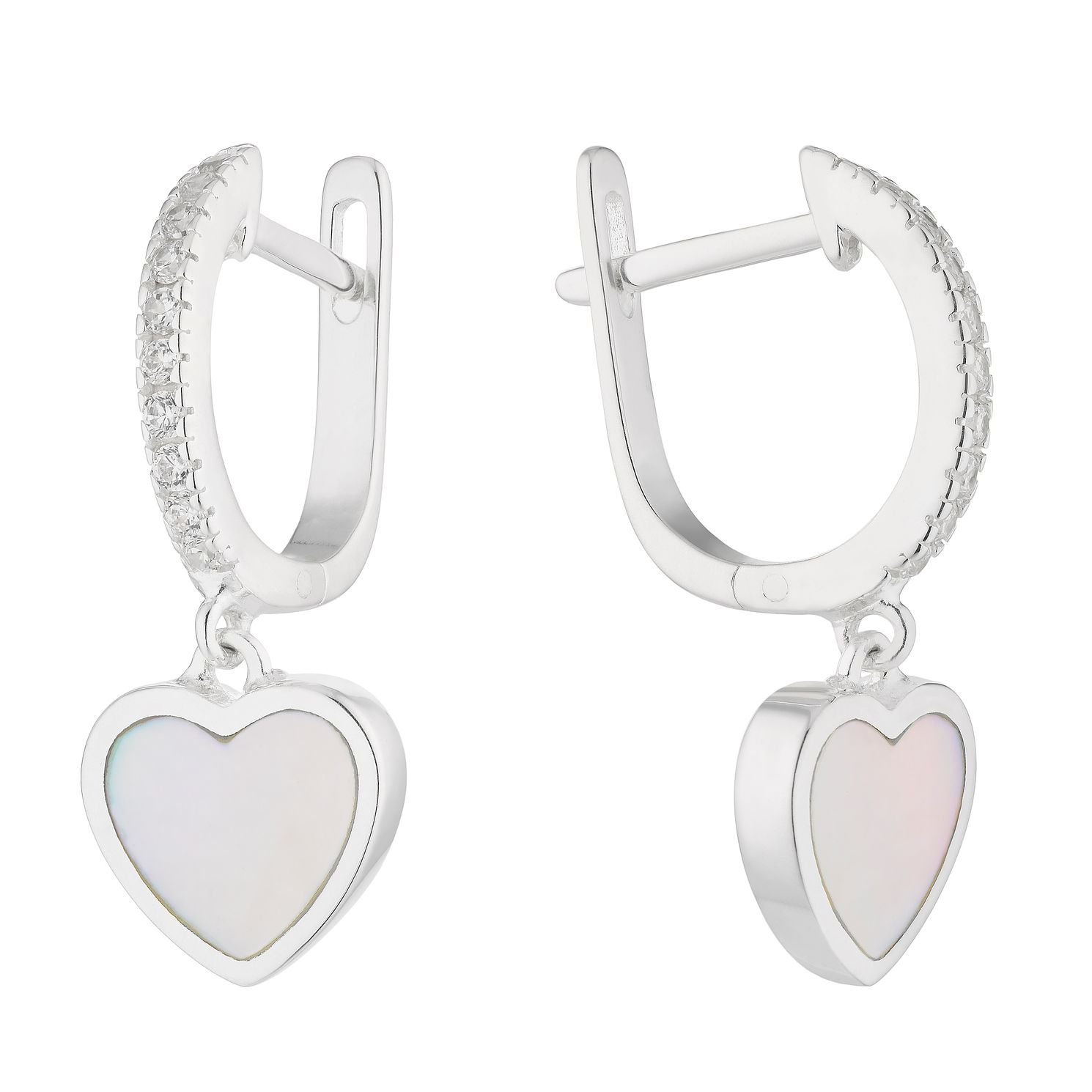 Silver Zirconia & Mother of Pearl Heart Charm Hoop Earrings - Product number 1160214