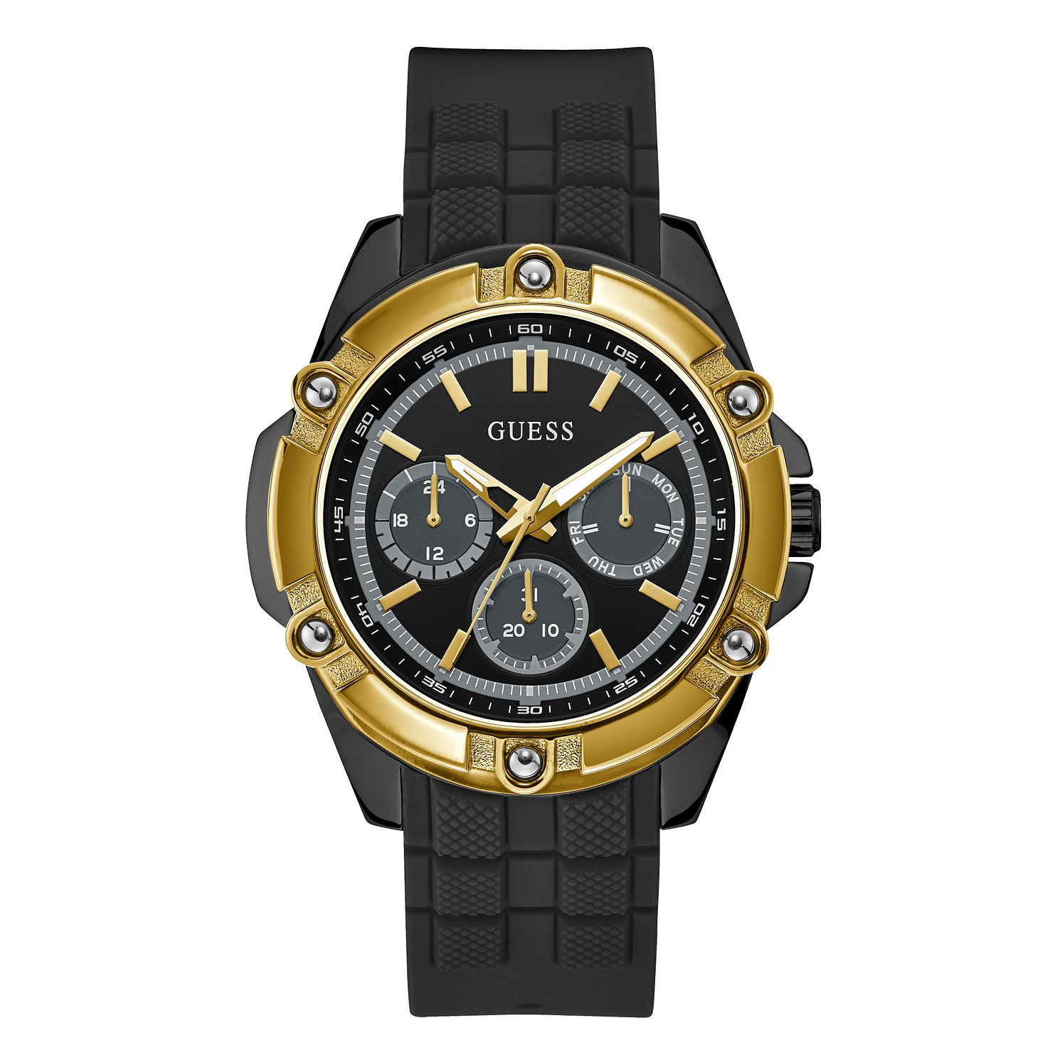 Guess Bolt Men's Black Silicone Strap Watch - Product number 1160389