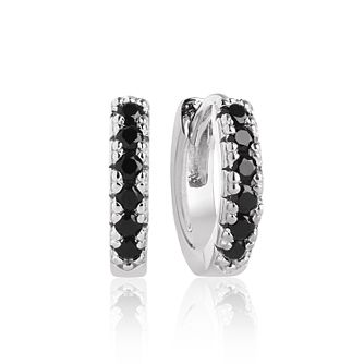 Sif Jakobs Ellera Silver Black Zirconia 11mm Hoop Earrings - Product number 1160729
