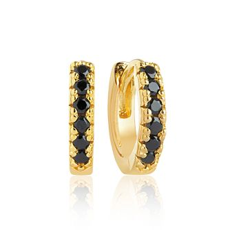 Sif Jakobs 18ct Gold Plate Black Zirconia 11mm Hoop Earrings - Product number 1160737