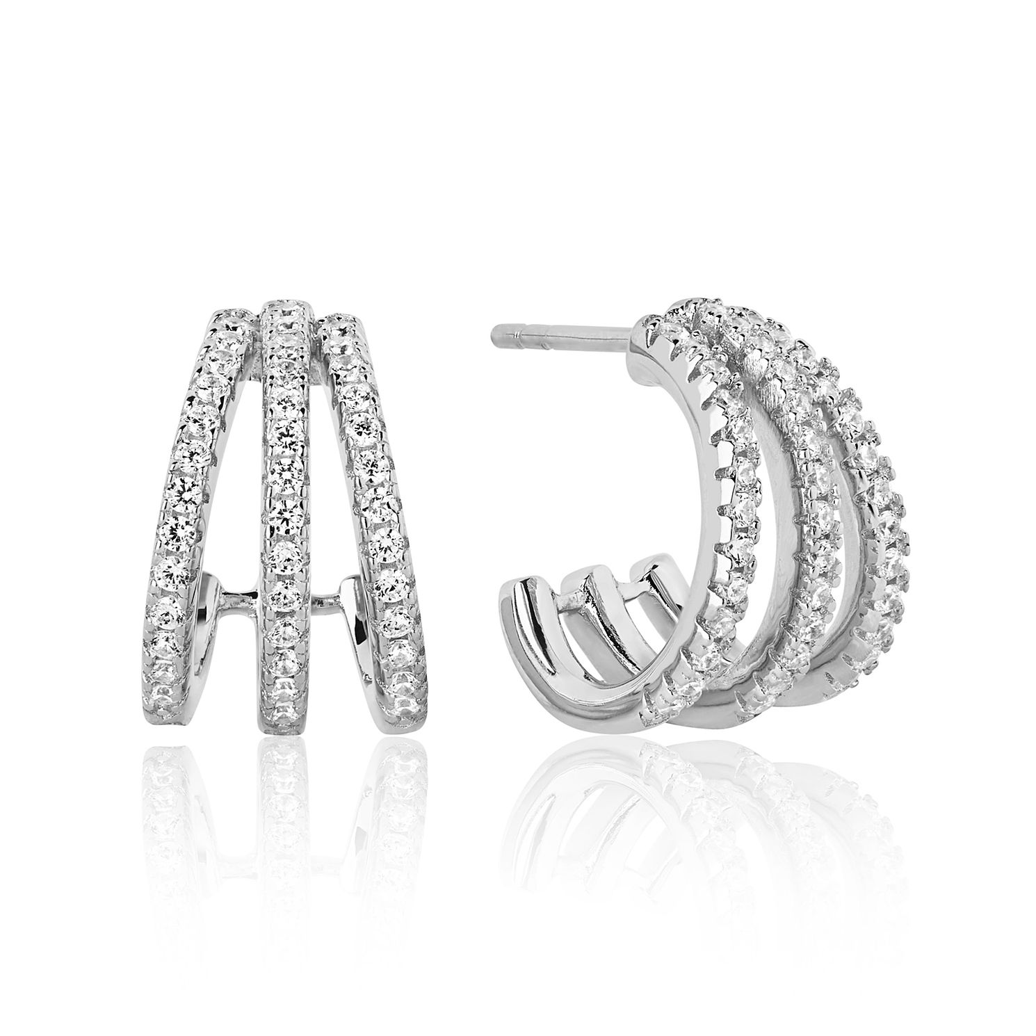 Sif Jakobs Silver Rhodium Plated Zirconia 14mm Hoop Earrings - Product number 1160745
