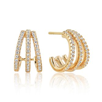 Sif Jakobs 18ct Gold Plate Silver Zirconia 14mm Earrings - Product number 1160753